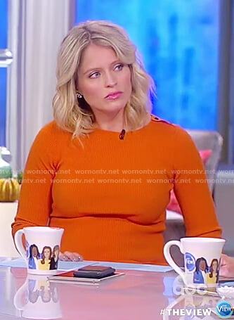 Sara's orange ribbed long sleeve dress on The View