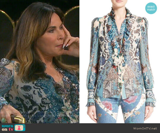 Roberto Cavalli Patchwork Print Silk Top worn by Lauren Koslow on Days of our Lives