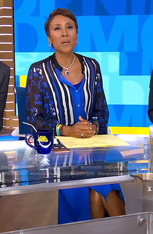 Robin's blue mixed print blouse and wrap skirt on Good Morning America