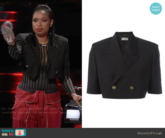 Saint Laurent Oversized Feconstructed Spencer Officer Jacket worn by Jennifer Hudson  on The Voice