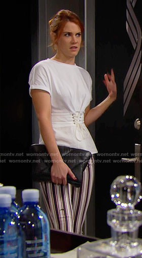Sally's white corset t-shirt and striped jeans on The Bold and the Beautiful