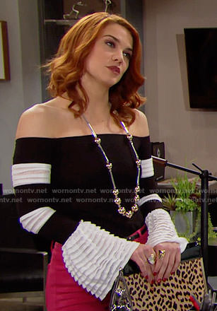 Sally's black and white off-shoulder top on The Bold and the Beautiful