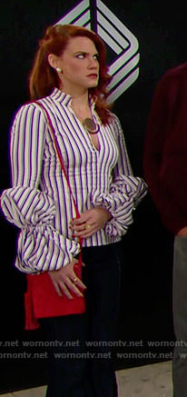 Sally's striped top with ruffled sleeves on The Bold and the Beautiful