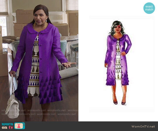 Salvador Perez Custom Purple Coat and Dress worn by Mindy Lahiri (Mindy Kaling) on The Mindy Project