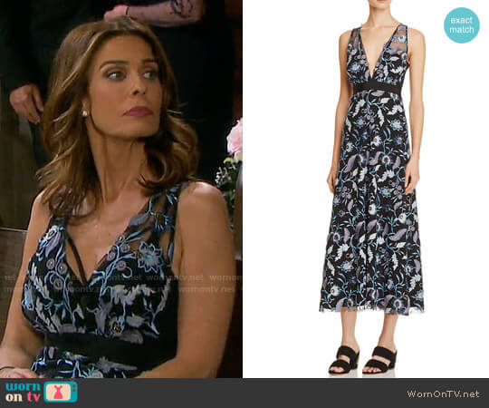 Sandro Blueshine Embroidered Midi Dress worn by Kristian Alfonso on Days of our Lives