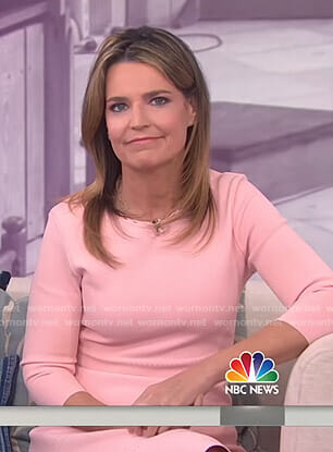 Savannah's pink three quarter sleeved dress on Today