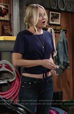 Sharon's navy tie-front tee and tassel necklace on The Young and the Restless