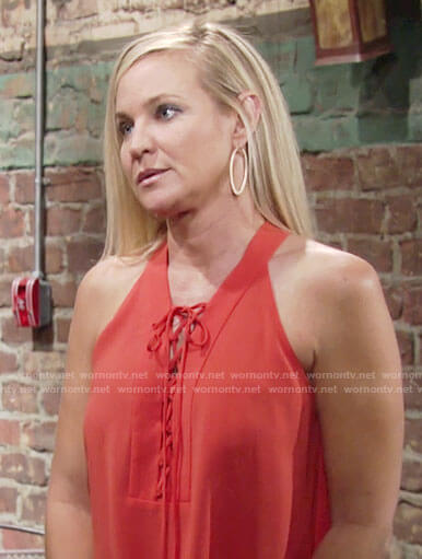 Sharon's orange lace-up top on The Young and the Restless