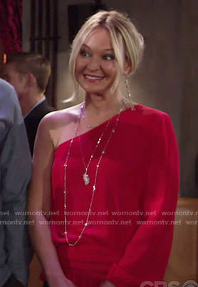 Sharon's red one-sleeve top on The Young and the Restless