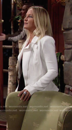 Sharon's white textured jacket on The Young and the Restless