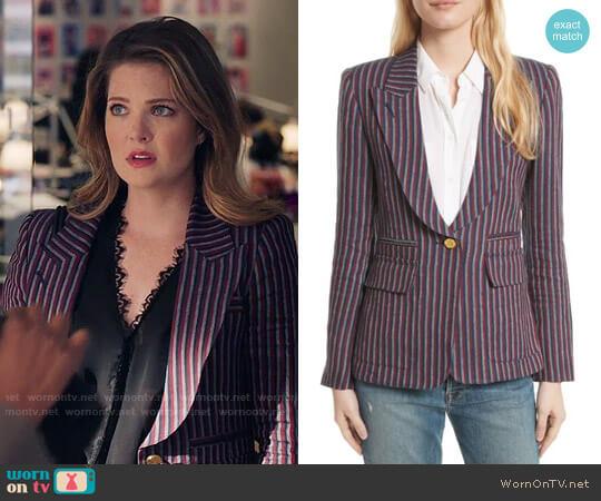 Smythe Stripe Cotton Blazer worn by Sutton (Meghann Fahy) on The Bold Type