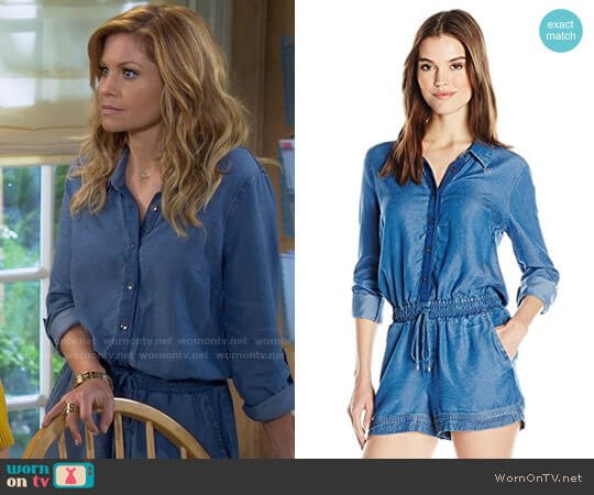 Splendid Blocked Indigo Romper worn by DJ Tanner-Fuller (Candace Cameron Bure) on Fuller House