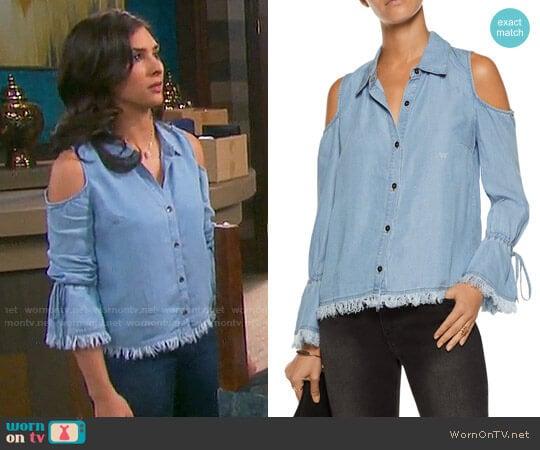 Splendid Cold Shoulder Frayed Shirt worn by Camila Banus on Days of our Lives