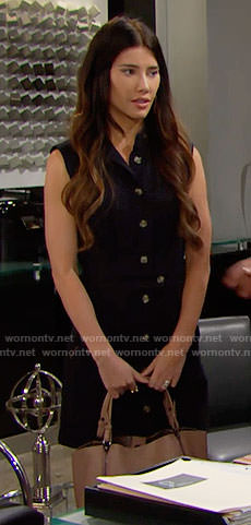Steffy's navy button front dress on The Bold and the Beautiful