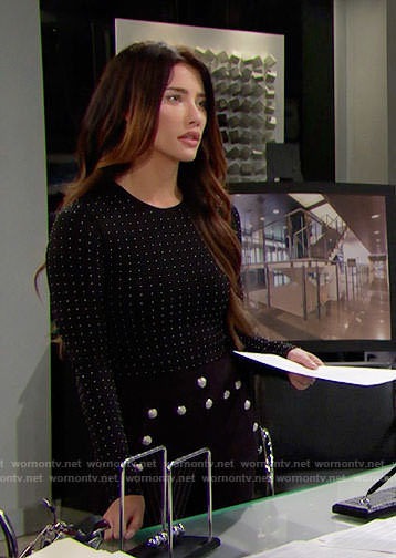 Steffy's black studded top and button front pants on The Bold and the Beautiful