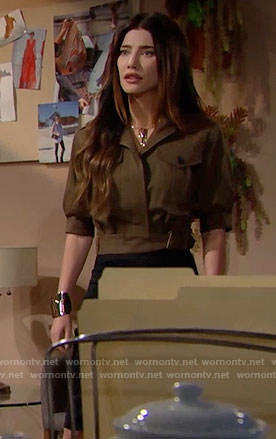 Steffy's cropped army jacket on The Bold and the Beautiful