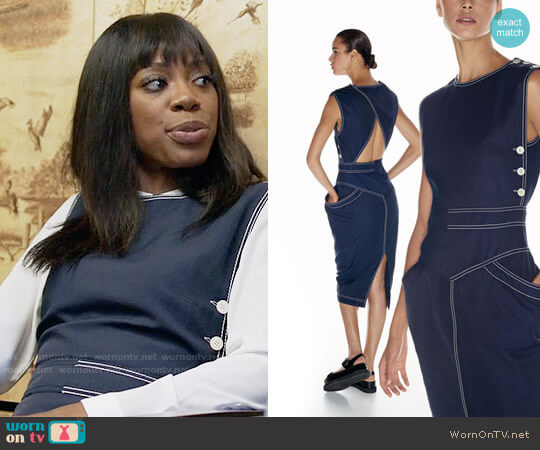 Stella McCartney Sleeveless Topstitched Open-Back Dress worn by Yvonne Orji on Insecure