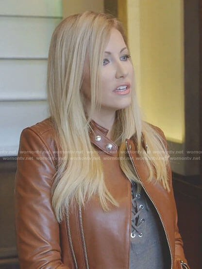 Stephanie's grey lace-up top and moto jacket on The Real Housewives of Dallas