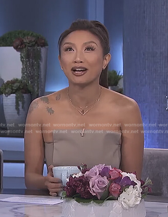 Jeannie's beige strapless jumpsuit on The Real
