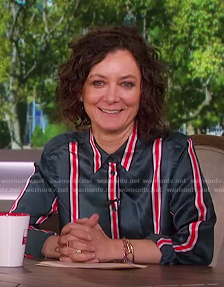Sara's green and red striped blouse on The Talk