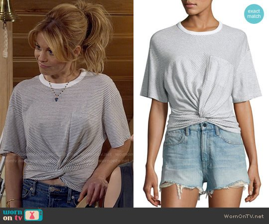 T by Alexander Wang Striped Jersey Twist-Front Tee worn by Candace Cameron Bure on Fuller House