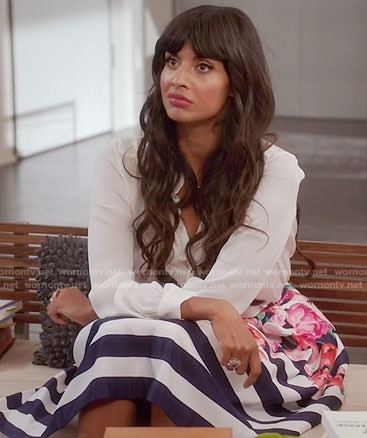 Tahani's striped and floral print skirt on The Good Place