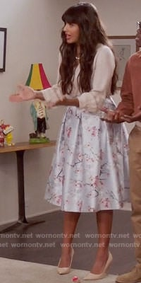 Tahani's light blue floral skirt on The Good Place