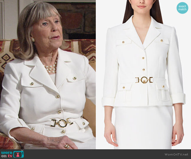 Tahari ASL Three-Button Belted Skirt Suit worn by Marla Adams on The Young & the Restless