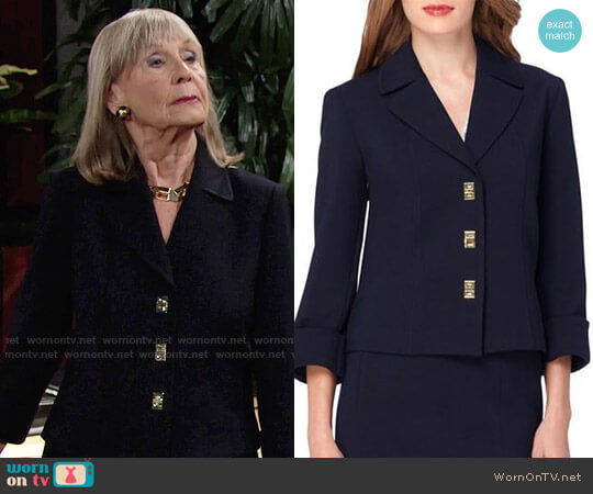 Tahari ASL Levine Turnlock Jacket worn by Dina Mergeron (Marla Adams) on The Young & the Restless