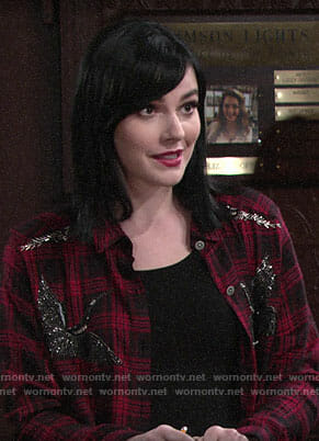 Tessa's red embellished plaid shirt on The Young and the Restless