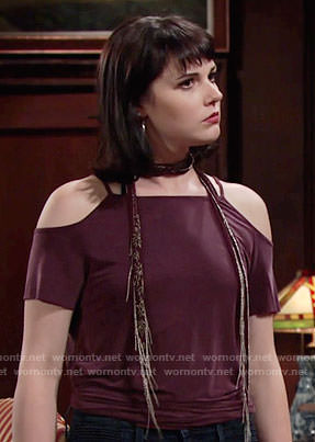 Tessa's purple cold-shoulder top and beaded scarf on The Young and the Restless