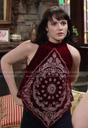 Tessa's red velvet bandana print top on The Young and the Restless