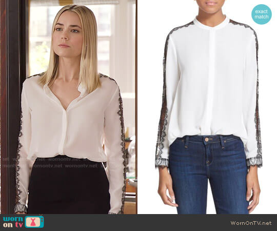 The Kooples Lace Inset Crepe Blouse worn by Anna (Rebecca Rittenhouse) on The Mindy Project