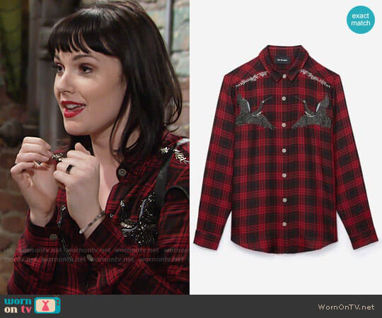 The Kooples Woven Checked shirt with Embroidered Storks worn by Cait Fairbanks on The Young & the Restless