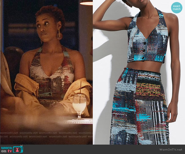 Tome Tweed Halter Bustier Top and Midi Skirt worn by Issa Rae on Insecure