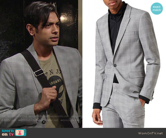 Topman Ultra Skinny Fit Check Suit Jacket worn by Abhi Sinha on The Young & the Restless
