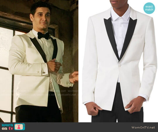 Topman Skinny Fit Contrast Tuxedo Jacket worn by Elyes Gabel on Scorpion