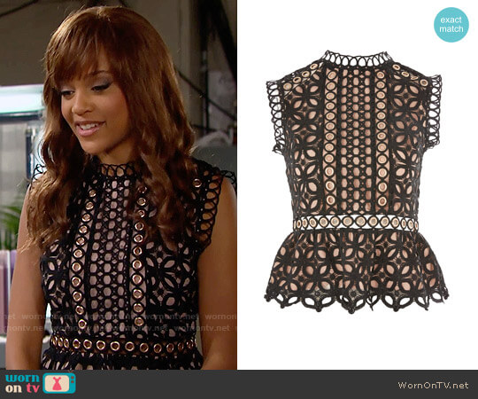 Topshop Eyelet Lace Shell Blouse worn by Reign Edwards on The Bold & the Beautiful