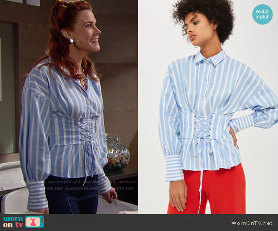 Topshop Wide Stripe Corset Shirt worn by Sally Spectra (Courtney Hope) on The Bold & the Beautiful