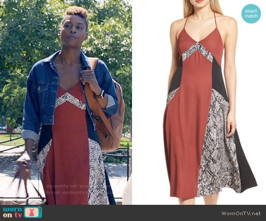 Trouve Colorblock Slipdress worn by Issa Rae on Insecure