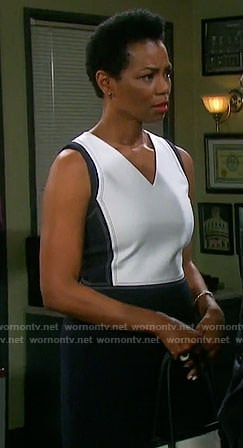Valerie's black and white v-neck dress on Days of our Lives