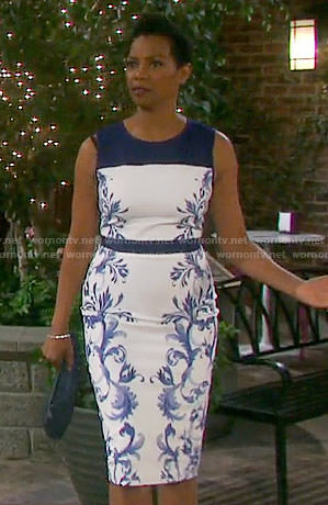Valerie's white and blue floral print sheath dress on Days of our Lives