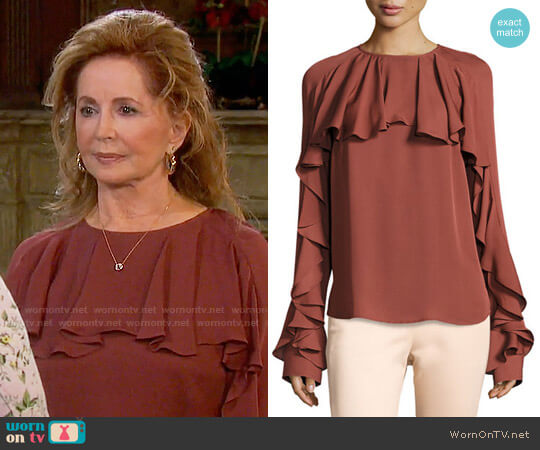 Veronica Beard Mia Blouse worn by Suzanne Rogers on Days of our Lives
