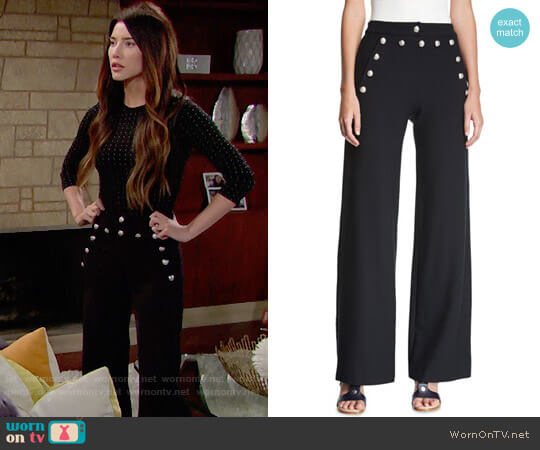 Veronica Beard Shore Sailor Wide Leg Pants worn by Steffy Forrester (Jacqueline MacInnes Wood) on The Bold & the Beautiful