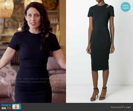 Victoria Beckham Shoulder Slit Fitted Dress worn by Lisa Edelstein on GG2D