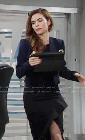Victoria's black ruffled dress and blue cropped jacket on The Young and the Restless