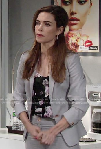 Victoria's floral cami and grey suit on The Young and the Restless
