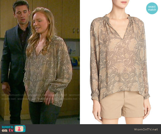 Vince Vintage Floral Blouse worn by Abigail Deveraux (Kate Mansi) on Days of our Lives