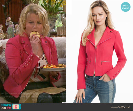 White House Black Market Lace-Up Detail Moto Jacket  worn by Adrienne Johnson Kiriakis (Judi Evans) on Days of our Lives