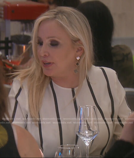 Shannon's white silk striped wrap top on The Real Housewives of OC